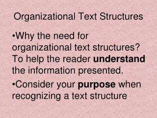 Organizational Text Structures