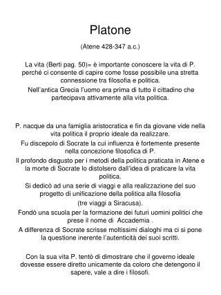 Platone (Atene 428-347 a.c.)