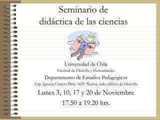 Seminario de  didáctica de las ciencias