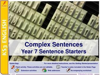 Complex Sentences Year 7 Sentence Starters