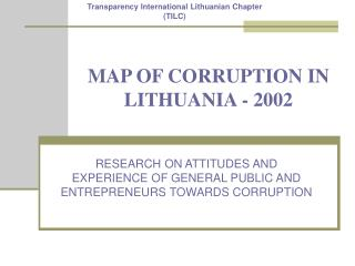MAP OF CORRUPTION IN LITHUANIA - 2002