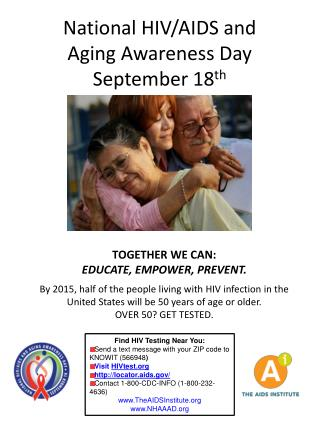National HIV/AIDS and  Aging Awareness Day September 18 th