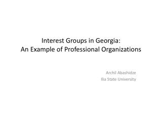 Interest Groups in Georgia:  An Example of Professional Organizations