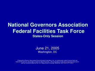 National Governors Association  Federal Facilities Task Force States-Only Session