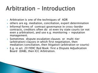 Arbitration – Introduction