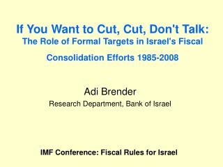 Adi Brender Research Department, Bank of Israel