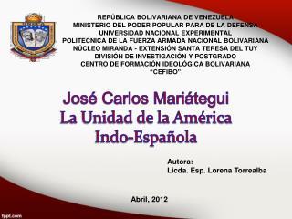 José Carlos Mariátegui La Unidad de la América Indo-Española