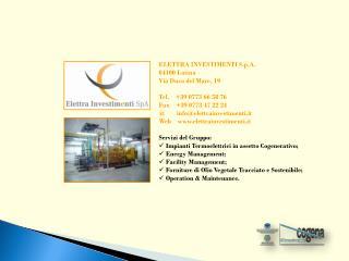 ELETTRA INVESTIMENTI S.p.A. 04100 Latina Via Duca del Mare, 19 Tel.     +39 0773 66 58 76