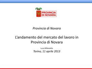 Provincia di Novara L'andamento del mercato del lavoro in  Provincia di Novara Luca Milanetto