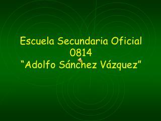 "Escuela Secundaria Oficial 0814 ""Adolfo Sánchez Vázquez"""