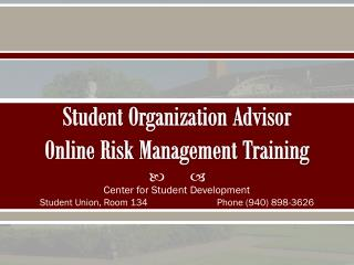 Student Organization  Advisor Online Risk  Management  Training