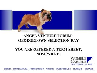 ANGEL VENTURE FORUM – GEORGETOWN SELECTION DAY YOU ARE OFFERED A TERM SHEET,  NOW WHAT?