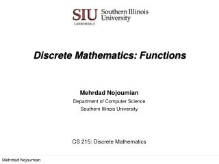 Discrete Mathematics:  Functions