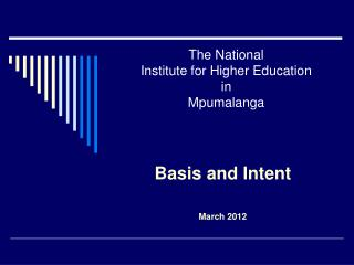 The National  Institute for Higher Education in  Mpumalanga