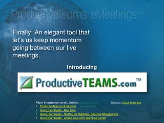 Finally! An elegant tool that let�s us keep momentum going between our live meetings.