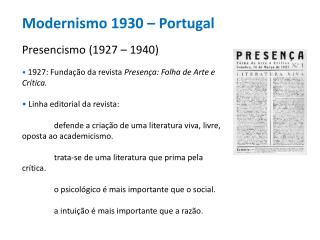 Modernismo 1930 � Portugal Presencismo (1927 � 1940)