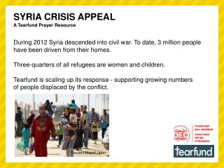 SYRIA CRISIS APPEAL A Tearfund Prayer Resource