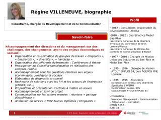 Régine VILLENEUVE, biographie