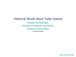 Historical Novels about Tudor Ireland Granuaile. The Pirate Queen Red Hugh. The Kidnap of Hugh O Donnell The Ghost of Gr