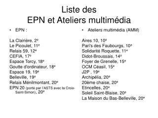 Liste des  EPN et Ateliers multimédia