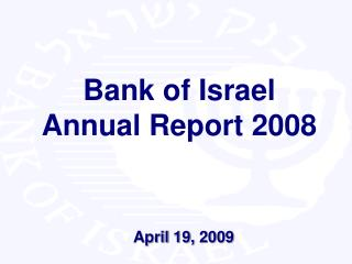 Bank of Israel Annual Report 2008
