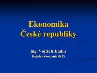 Ekonomika České republiky