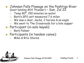 Johnson Falls Flowage on the Peshtigo River  (boat landing #14 Thunder)  – Sun, Jul 22