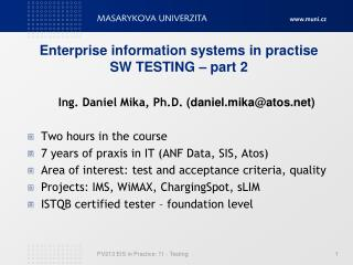 Enterprise information systems in pra ctise SW TESTING  – part 2
