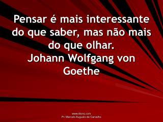 Pensar é mais interessante do que saber, mas não mais do que olhar. Johann Wolfgang von Goethe