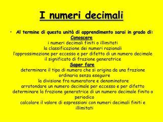 I numeri decimali