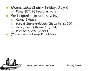 Moens Lake Chain – Friday, July 6 Temp 65º, 2¼ hours on water Participants (in solo kayaks):