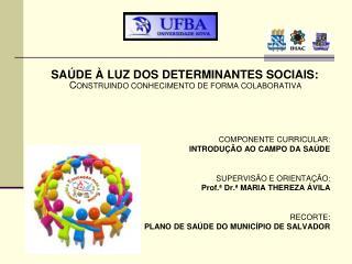 SAÚDE À LUZ DOS DETERMINANTES SOCIAIS:  C ONSTRUINDO CONHECIMENTO DE FORMA COLABORATIVA .