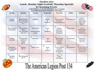 October  2011 Lunch, Monday Night Football, Thursday Specials  & Upcoming Events