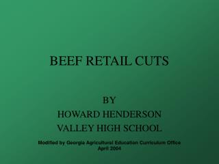BEEF RETAIL CUTS