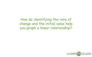 How do identifying the rate of change and the initial value help you graph a linear relationship?