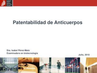 Patentabilidad de Anticuerpos