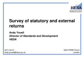 Survey of statutory and external returns  Andy Youell  Director of Standards and Development  HESA