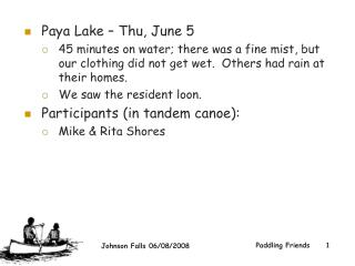Paya Lake – Thu, June 5