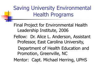 Saving University Environmental Health Programs