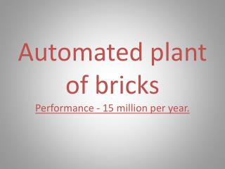 Automated plant of bricks Performance - 15 million per year.