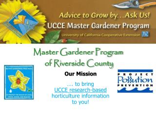 Master Gardener Program  of Riverside County