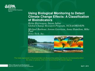 Using Biological Monitoring to Detect Climate Change Effects: A Classification of Bioindicators