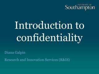 Introduction to confidentiality