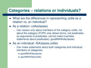Categories – relations or individuals?