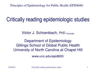 Critically reading epidemiologic studies