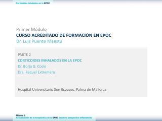 Primer M�dulo CURSO ACREDITADO DE FORMACI�N EN EPOC Dr. Luis Puente Maestu