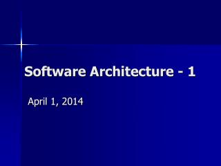 Software Architecture - 1