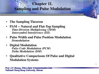 Chapter 11.  Sampling and Pulse Modulation