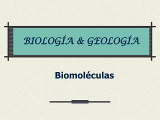 BIOLOGÍA & GEOLOGÍA