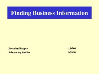 Finding Business Information